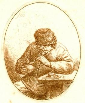 Darstellung eines rauchenden-Arbeiters in einem Portrait aus dem 18. Jahrhundert von Adriaen van Ostade Smoker