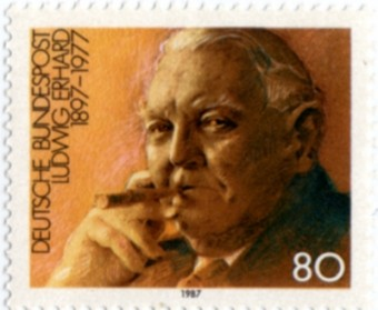 Briefmarke mit dem zigarrenrauchenden Ludwig Erhard - 80 Pfennig