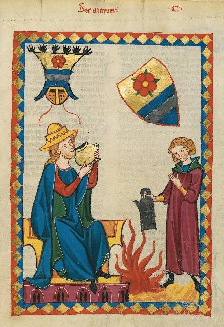 Darstellung von Alkoholkonsum im Mittelalter durch eine mittelalterliche Zeichnung