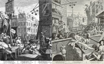 "Das Gemälde ""Beer-Street And Gin Lane"" von William Hogarth"