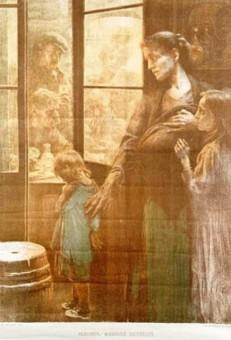Gemälde einer unglücklichen Familie steht vor einer Wirtshaustür, in dem der Vater Branntwein trinkt