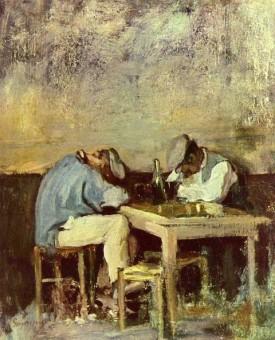 Portrait von Nicolae Grigorescu: Zwei Arbeiter beim Rauschtrinken an einem Tisch