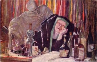 Gemälde von Wollner auf dem der Dämon Alkohol eine junge Frau befällt