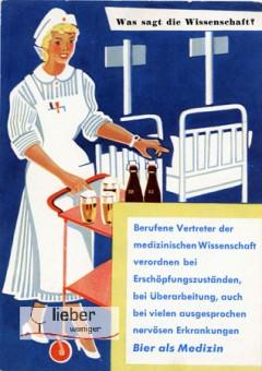 Werbeplakat der Alkoholwirtschaft mit belehrendem Slogan, der eine gesundheitsfördernde Wirkung von Alkohol suggeriert
