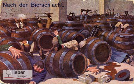 Postkarte gegen übermäßigen Alkoholkonsum mit besoffenen Männern, die Bier aus Fässern getrunken haben