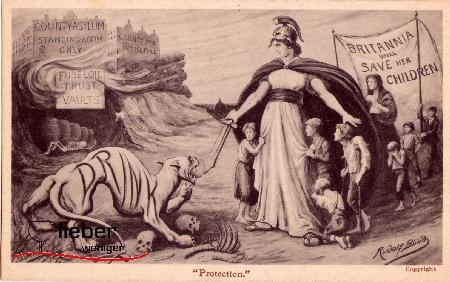 Bildliche Darstellung der Britanica die Kinder vor dem Dämon Alkohol bewahrt