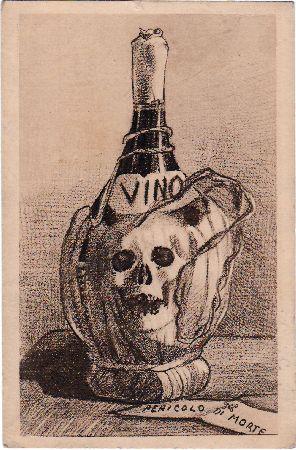 Holzschnitt einer Weinflasche mit Totenkopfemblem