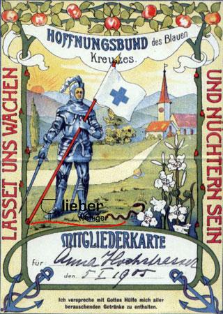 Mitglieder Karte des Kreuzbund von 1905 mit Bild eines Anit Alkohol Ritters und Slogan