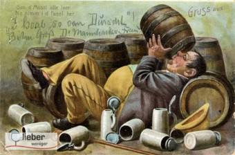 Postkarte gegen übermäßigen Alkoholkonsum mit dickem Trinker der aus Bierfässern säuft