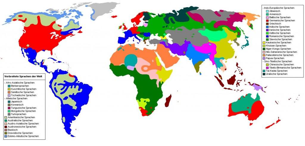 Die Sprachfamilien der Welt übersichtlich dargestellt in einer Weltkarte