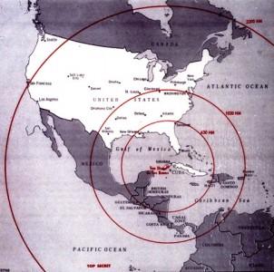 Kuba Krise: Bild der CIA, welches die Reichweite Sowjetische Raketen auf Kuba darstellt