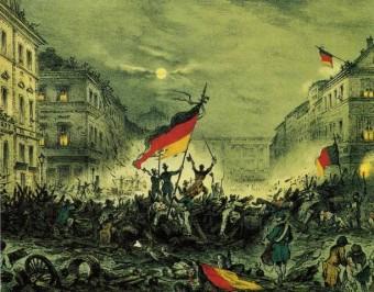 Portrait des Maerzaufstand in Berlin während der Revolution von 1848 mit Barikaden und schwart rot goldener Deutschlandfahne