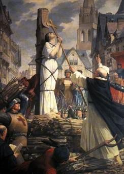 Jean d'Arc vor ihrer Hinrichtung auf dem Scheiterhaufen