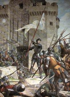 Jeanne d'Arc und ihre Anhänger feiern die Eroberung von Orleans die Erstürmung von Orleans
