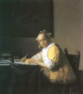 Portrait von Vermeer van Delft, Jan: Schreibende Frau im 18 Jahrhundert