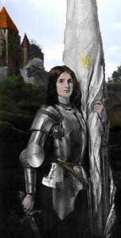 Portrait der erwachsenen Jeanne D'Arc in Rüstung mit Schwert