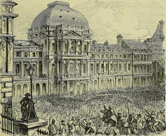 Alter Holzstich eines Menschenauflaufs während der der Fränzösischen Revolution