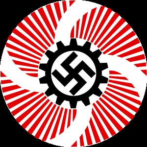 Das nationalsozialistische Emblem für Kraft durch Freude: Hakenkreuz mit rotten Flügeln