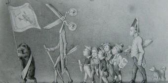 Eine Karikatur von 1847 nimmt die Zensur aufs Korn und versucht sie damit lächerlich zu machen