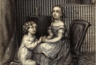 Nachdenkliche Maedchen auf einem historischen Gemälde