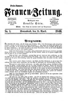 """Titelseite der Probenummer von Louise Ottos """"Frauen-Zeitung"""" aus dem Jahre 1840"""