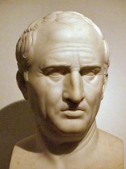 Fotoe einer Cicero Büste aus Marmor in einem neapolitanischem Museum