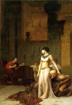 Darstellung der Beziehung zwischen Caesar und Kleopatra auf einem Gemälde von Jean-Leon-Gerome