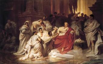 """Das monumentale Gemälde """"Die Ermordung Caesars"""" von Karl Theodor von Piloty aus dem Jahre 1865"""