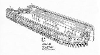 Zeichnerische Rekonstruktion des Circus Maximus