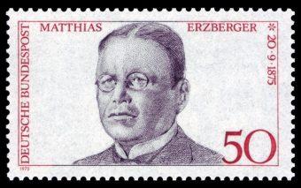 50 Pfenig Briefmarke mit Matthias Enzensberger Portrait