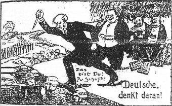 Karikatur der Dolchstoßlegende.: Philipp Scheidemann erdolcht die deutsche Front von hinten, Matthias Erzberger steht dahinter:.