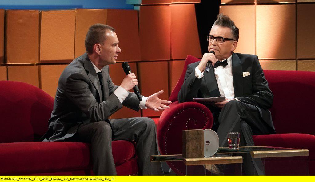 Preisträger David Johst und Moderator Götz Alsmann