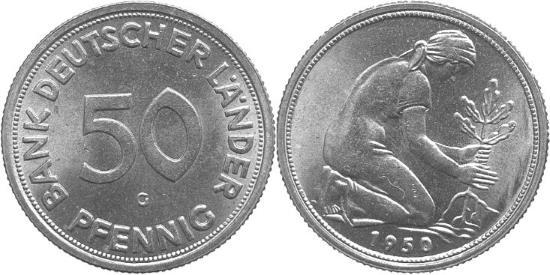 """Darstellung einer 50 Pfennig Münzen von 1950 mit """"Bank deutscher Länder"""" Schriftzug"""