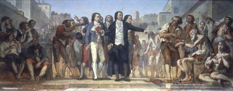 Gemälde von Charles Louis Lucien Müller: In der Lobby des Académie Nationale de Médecine, Paris befreit Pinel die Kranken aus der Bicêtre