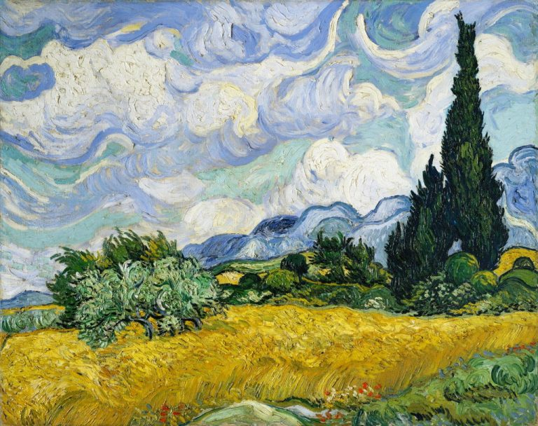 Van Gogh - Weizenfeld mit Zypressen