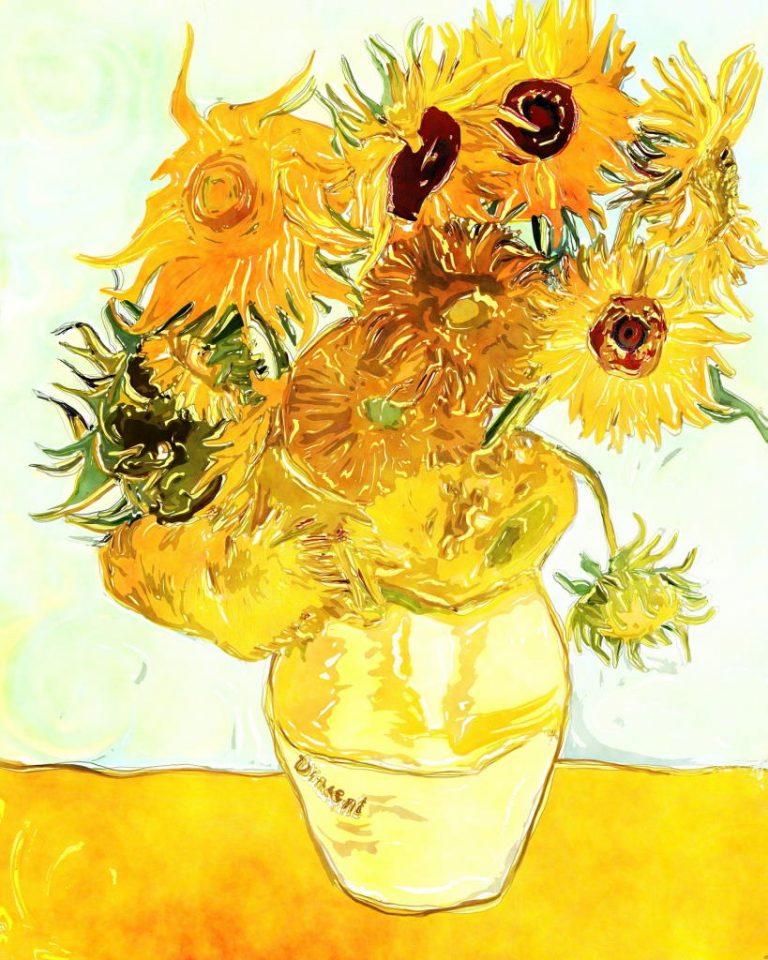 Vincent van Gogh - Zwölf Sonnenblumen in einer Vase.